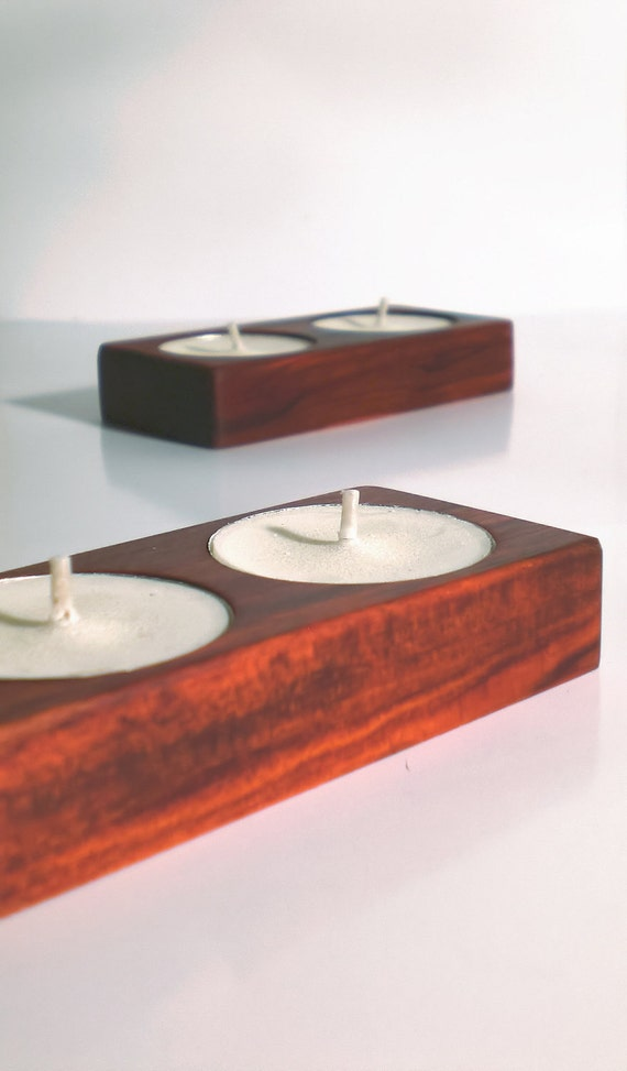 Red Heart exotic wood tealight holder - Perfect Fathers Day gift