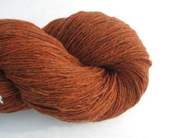 Cotton Nylon Merino Blend Recycled Yarn, Heavy Lace Weight, Pumpkin Pie Orange, Lot 120315