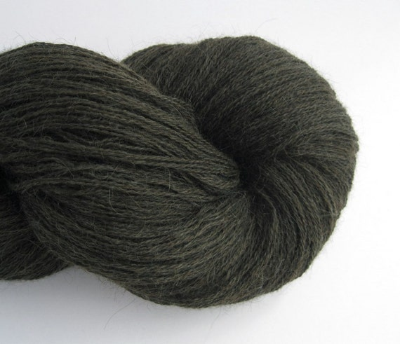 Heavy Lace Weight Alpaca Recycled Yarn, Dark Forest Green, Two Skeins, 400 Yards