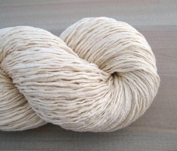 Sport Weight Cotton Recycled Yarn, Cream, 410 Yards