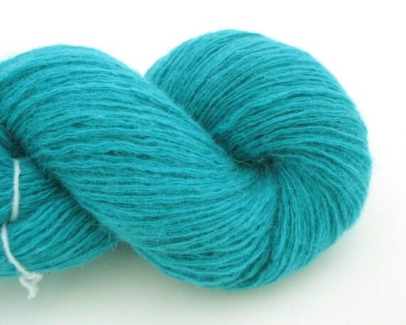 Fingering Wool Angora Blend Recycled Yarn, Turquoise, 480 Yards