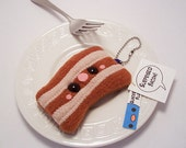 Surprised Bacon Plushie Keychain stuffed meat toy bag charm in soft brown fleece