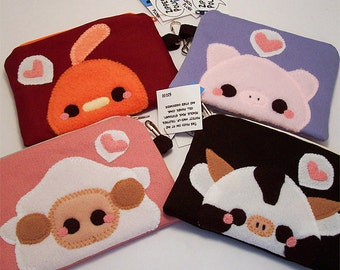 Kawaii Animal Coin Purse Chicken Pig Sheep or Cow cell phone holder