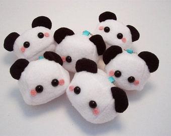 Baby Panda Bear Sugar Cube Plushie Keychain Kawaii Stuffed