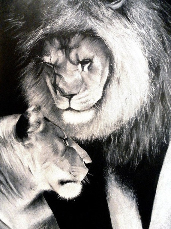 """SALE 30% OFF Huge Contemporary Fine Art Original Painting on Canvas Lions Black and White 24""""X36""""X3/4""""  Signed by Artist"""