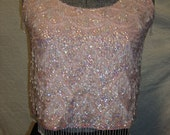 1950s Pink Sequined Wool Shell with Beads and Pearls Rockabilly Glamour