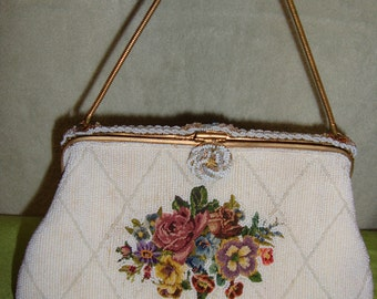 Vintage French Beaded and Needlepoint Handbag Purse Evening Bag