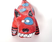 Funky and unusual, handmade papier mache dog