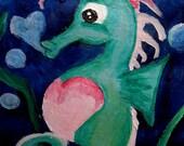 Original Art Print - I Heart Seahorse - ACEO