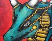 Original Art Print - Sly Dragon - ACEO
