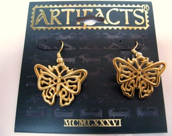 Vintage JJ Earrings Butterfly- Jonette jewelry, Artifacts 1986 collectible- Unique gift under 10- woman wife mom