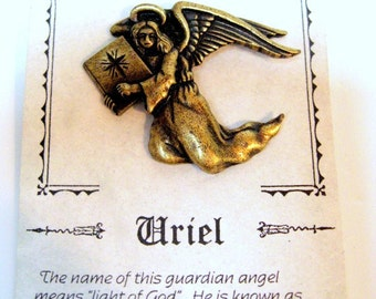 Vintage JJ Jonette Jewelry-  Angel Uriel Vintage Pin Brooch-  made in the USA  1980s -- signed JJ Original