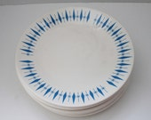RESERVED FOR ValentinoVamp - Atomic Starburst and Diamonds in Blue on Mid Century Dinner Plates - Set of 4