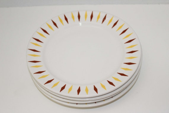 Brown and Yellow Diamond Dinnerware by Homer Laughlin - Mid Century Modern Retro Pattern