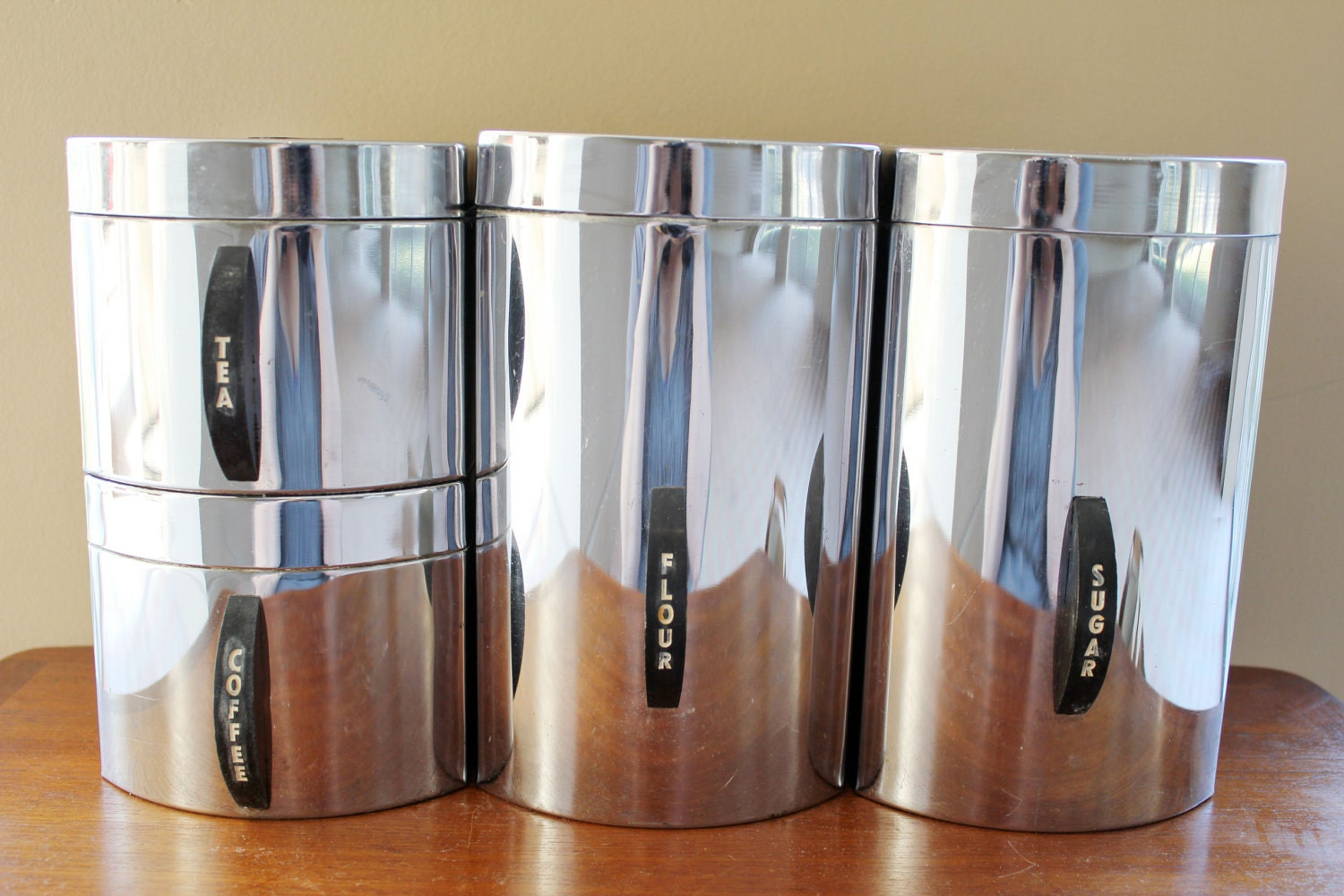 Chrome Flour Sugar Coffee Tea Canister Set In Silver By