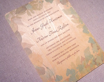 Real Wood Wedding Invitation - Peaceful Green Leaves