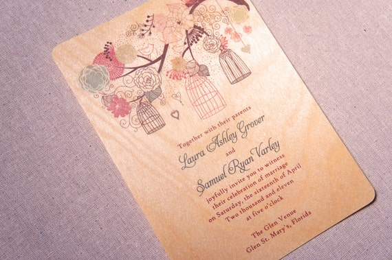 Real Wood Wedding Invitations: Real Wood Wedding Invitations Whimsical By