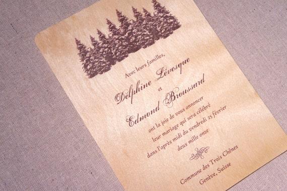 Real Wood Wedding Invitations: Real Wood Wedding Invitations Pine Trees By