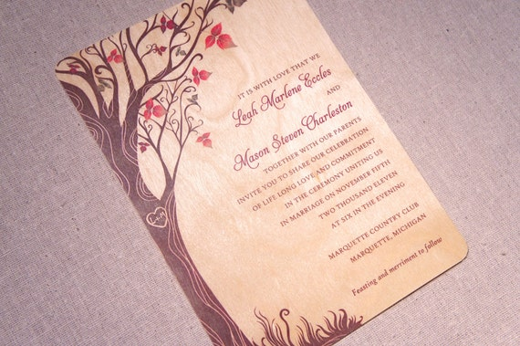 Real Wood Wedding Invitations: Real Wood Wedding Invitations Fall Curly By