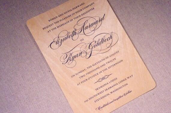 Real Wood Wedding Invitations: Real Wood Wedding Invitations Gorgeous By WoodChickInvitations