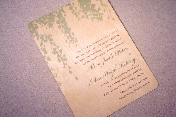 Real Wood Wedding Invitations: Real Wood Wedding Invitations Hanging Willow By
