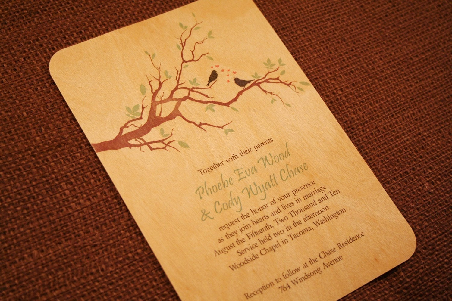 Real Wood Wedding Invitations Love Birds On A Branch