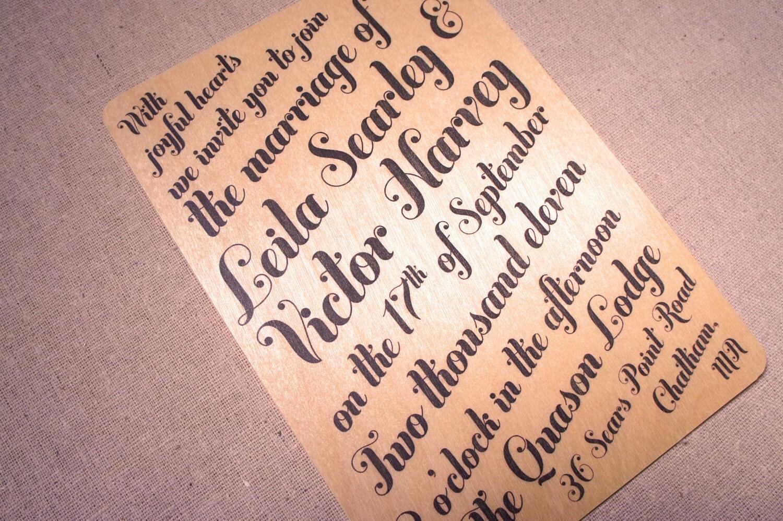 Real Wood Wedding Invitations: Unavailable Listing On Etsy