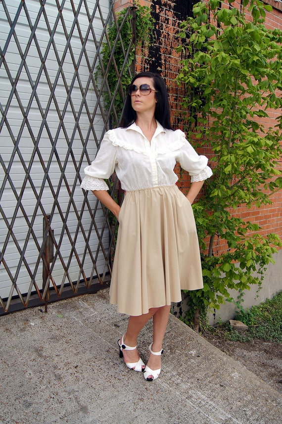 Vintage Boho Dress with Pockets - Cream Top & Tan Full Skirt