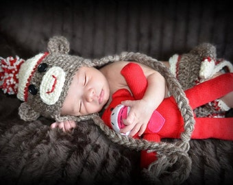 Sock Monkey Hat and Diaper Cover, Halloween Costume,Newborn Photo Prop, Monkey Hat, Brown Acrylic Yarn with Red Accent, Baby Accessories
