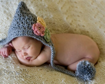 Pixie Hat with Spring Flower Trio, Gray Woodland Hat, Newborn to 6 Month Photo Props, Pom Pom Hat, Gray Textured Pixie Hat, Baby Girl Hat