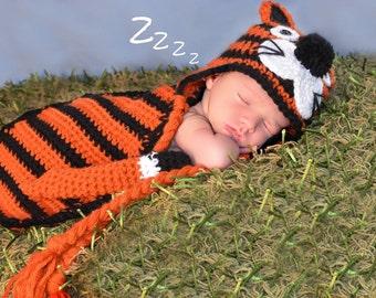Newborn Crochet Tiger Hat and Flapper