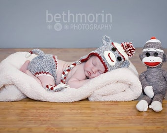 Baby Sock Monkey Set in Gray