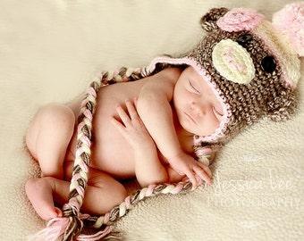 Sock Monkey Hat and Diaper Cover,Halloween Costume, Baby Girl, Monkeys,  Photo Props, Animal Hats, Baboon, Crochet Monkey, Nursery Set