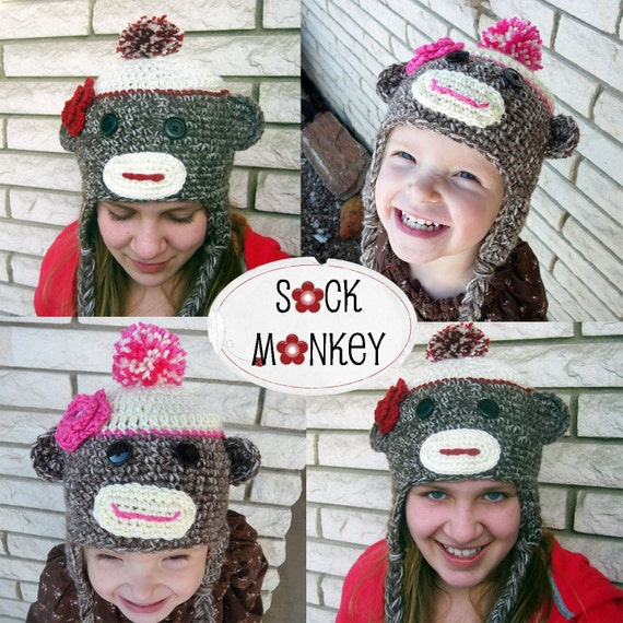Crochet Sock Monkey Hat for Youth to Adult