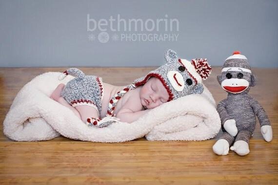Baby Sock Monkey Set in Gray