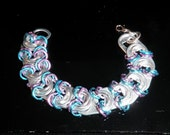 TABZ - handcrafted soda tab / pop tab / pull tab jewelry bracelet in blue and lavender
