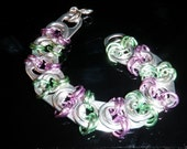 TABZ - handcrafted soda tab / pop tab / pull tab jewelry bracelet in green and lavender
