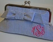 Monogrammed Seersucker Clutch - Small Wrap Bow, Bridesmaids gift