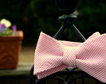 Pink Seersucker Bow Tie