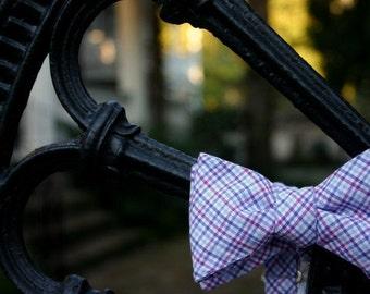 Purple Plaid Bow Tie
