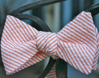 Orange Seersucker Bow Tie