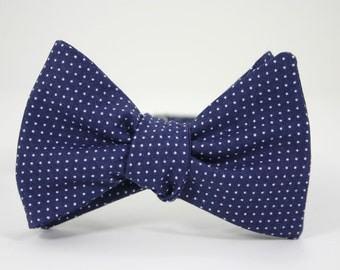 Navy Pin Dot Bow Tie