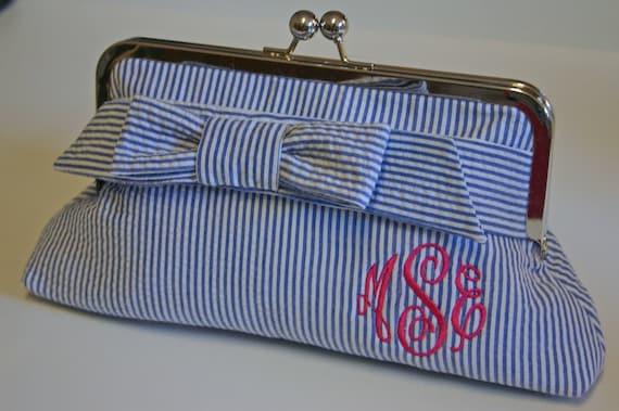 Monogrammed Seersucker Clutch - Small Wrap Bow, Bridesmaids gift
