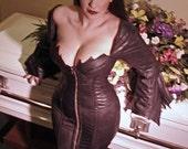 """22"""" closed waist Handmade Steel Boned Gothic Vampire Corset Hobble dress Anime XS S M Elvira Vampirilla"""