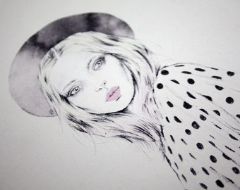 Spots and Denim, A4 print, Original fashion illustration