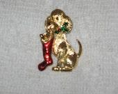 Vintage Gerrys Christmas Dog Pin