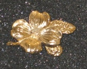 1970's Stamped Floral Gold Tone Brooch