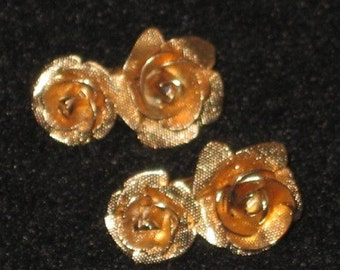Vintage Goldtone Double Rose Earrings