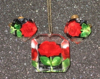 Lucite Red Roses Necklace and Earrings Set