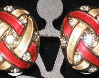 Vintage Red, Gold and Rhinestone Earrings